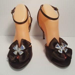 Kate Spade New York Brown Satin Rhinestone shoes